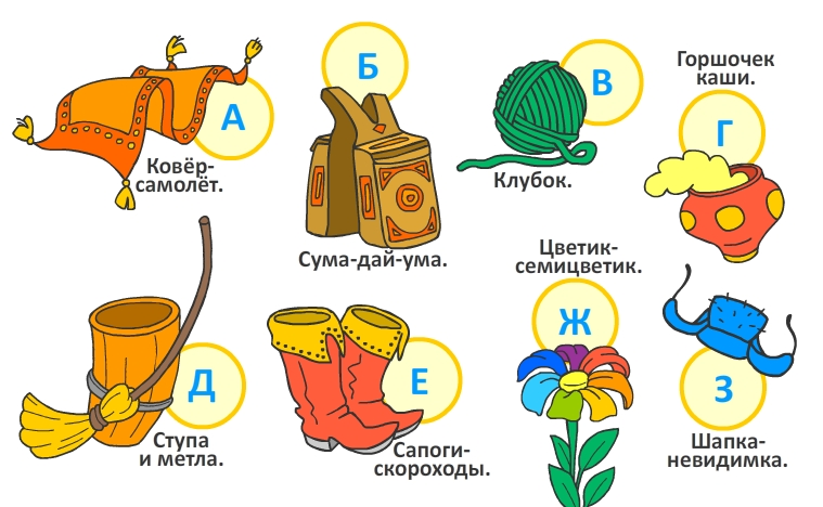 картинки сказочных предметов из русских сказок уроке