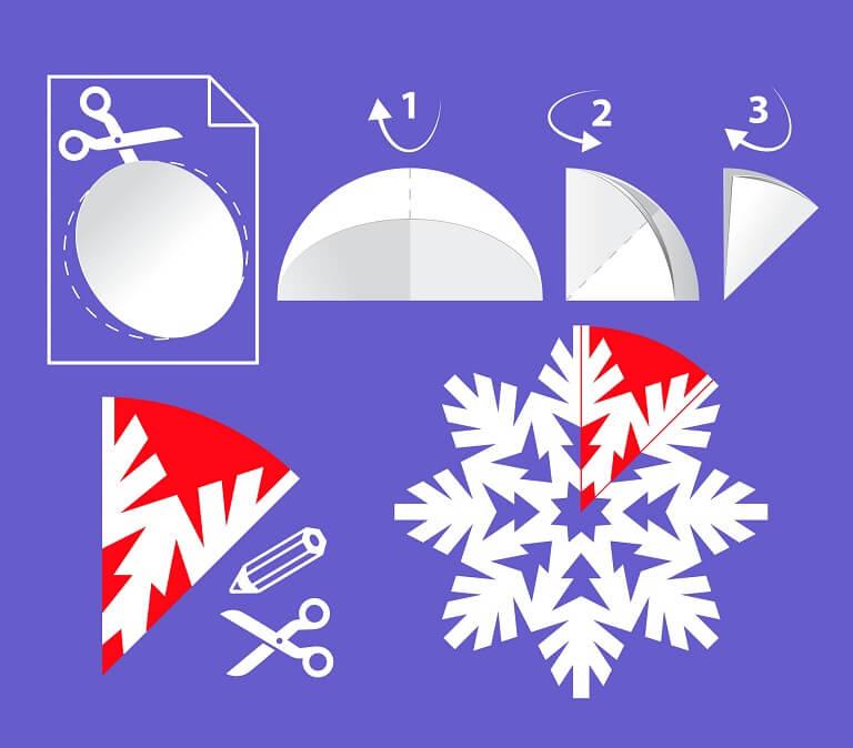 как сложить простую снежинку из бумаги