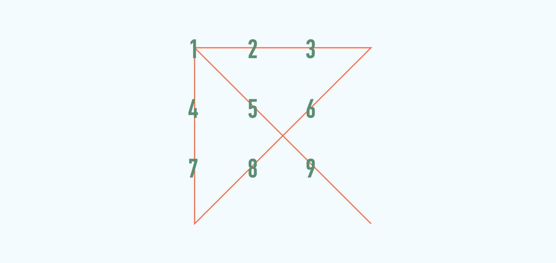 9 точек 4 линии
