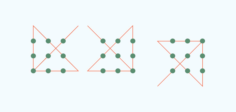 как провести через 9 точек 4 линии