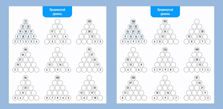 математическая пирамида сложный уровень