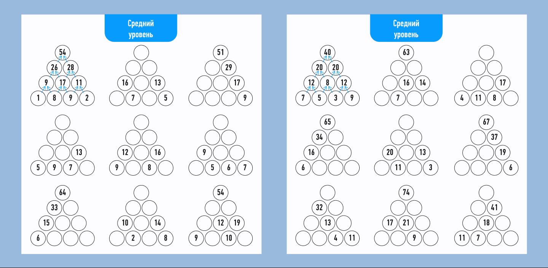 математическая пирамида средний уровень