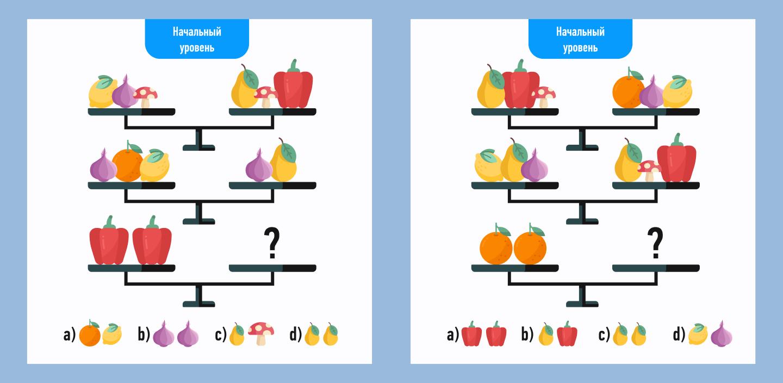 математический ребус с фруктами легкий уровень