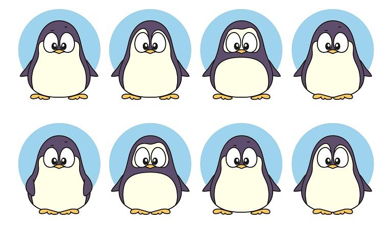 найди пару одинаковых пингвинов