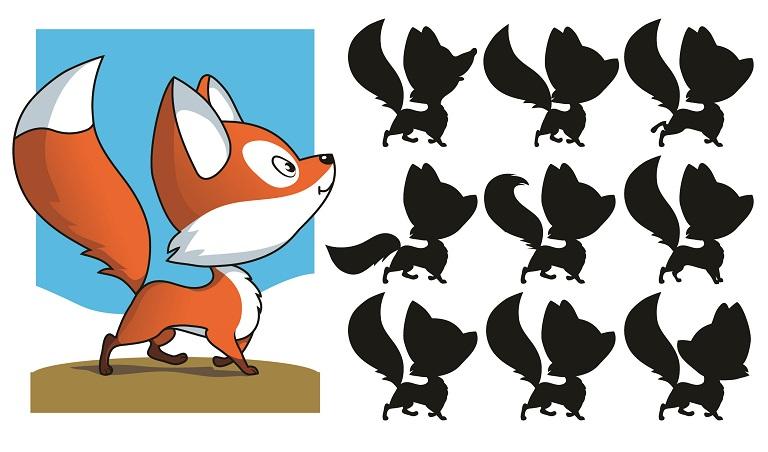 найди верную тень для лисички