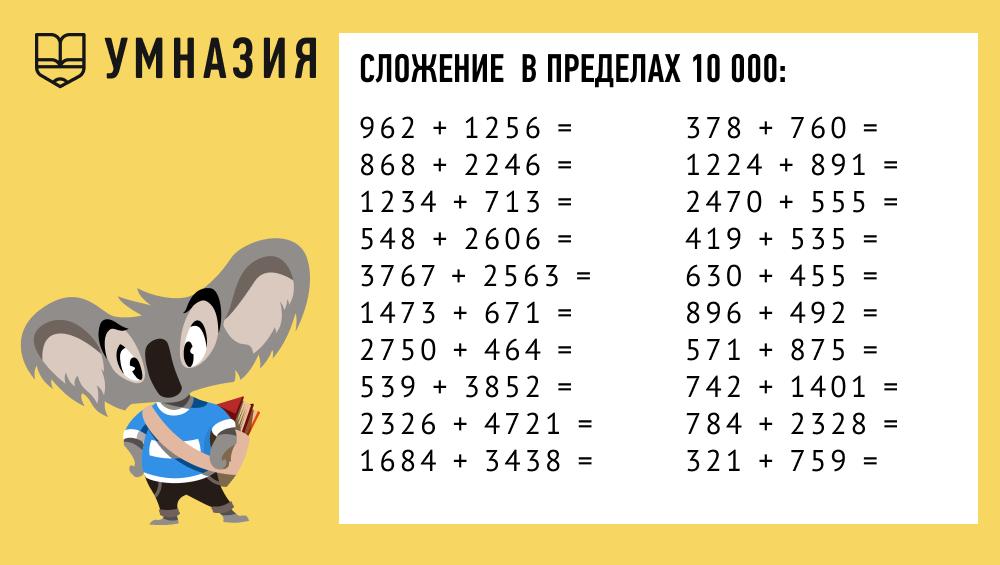 примеры на сложение в пределах 10000